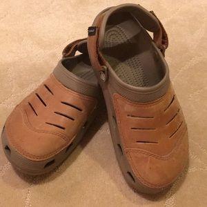 Unisex Tan Leather Crocs